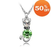 christmas sale 4 colors white Gold Plated Cat AustriSZ Crystal Necklce pendSZt Fashion jewelry 1084-1 SZ