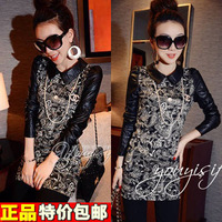 Plus size clothing autumn mm 2013 shirt medium-long thickening plus velvet basic shirt slim female long-sleeve t-shirt