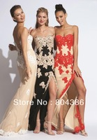 2014 free shipping wholesale sweetheart sleeveless appliques nude black red color side slit prom evening dress