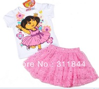 Retail 1pcs new arrival girls summer new white T-shirt Jialei Si Dora skirt suit 2 color