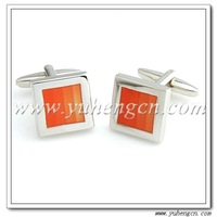 Fast Free Shipping ! YH-434OR  Orange Enamel Cufflinks,Cufflink Square -Factory Direct Selling
