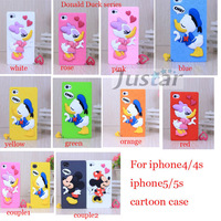3D Minnie Mickey Mouse case Cute Cartoon Donald Duck Romantic Couple sets Lovers Silicone Case cover for iPhone 4/4s 5S cases