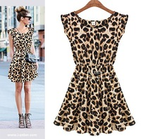 Drop shipping New 2014 Spring Women One Piece Dress Leopard Print Casual Microfiber Sundress Big size M L XL