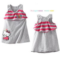 Wholesale! 2014 new cartoon princess dress, hello Kitty summer wear sleeveless dresses of the girls, girls 100% cotton skirt.