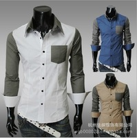 LS058 Fashion Style Men's colors spliced Pocket Design Slim Casual Long Sleeve Shirts 4 Sizes 3 Colors Free Shipping