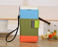 New Fashion Colorful Book Style Trichromatic Pattrent PU Leather Case For iPhone 5C, Free Shipping 5pcs/lot