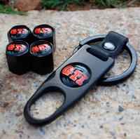 GTI Emblem Metal Wheel Tire Valve Caps With 1Pcs Key Ring For Volkswagen Golf ,Jetta,MK6,GTI accessories