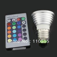 Free shipping 30pcs/lot wholesale and hot sale E27 3W RGB Light LED Blub romote controlled led candle lamp (85-265v)