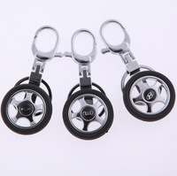 Creative car wheel key rings with car logo 5PCS/LOG free shipping
