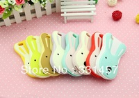 Free Shipping 3D Cute Rabbit Soft Silicone Case for iPhone 4 4S Cartoon Protective Back Cover