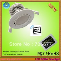 Free shipping RGBW Downlight on Phone, 1 Downlight and 1 WIFI Controller as a set  AC85~265v  12w