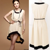 Hot! 2013 New Summer Fashion Ladies Asymmetric Hem Chiffon Knee Lenght Dress Women Sexy Simple Vest Sleeveless Dresses SA46