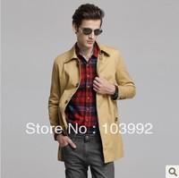 2013 hot sale spring Winter  British fashion Korean Slim Men Trench Coat  single-breasted long cotton Windbreaker
