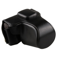 Black Leather Camera Case Bag For Olympus PEN EPL6 EPL5 EPM2 14-42mm lens +Strap free shipping