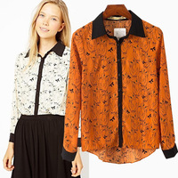 Fashion personality van fashion turn-down collar long-sleeve owl pattern print color block shirt female blouse