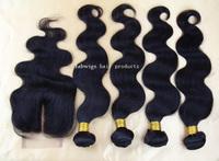 Brazilian Virgin Hair Body Wave 5pcs lot Unprocessed Human Hair Extension 4 Bundles with Middle Part Lace Closure Bleached Knots