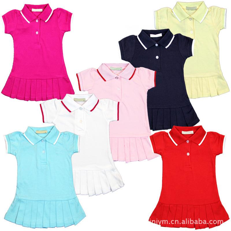 New fashion girls short sleeve dress / child tennis dress / princess dress children 7 colors /kids designer clothing(China (Mainland))