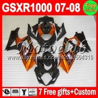 100% NEW&7gifts For K7 SUZUKI GSX R1000 Orange black 2007 2008 GSXR 1000 K7 GSX-R1000 870 Orange GSXR1000 07 08 ABS Fairings