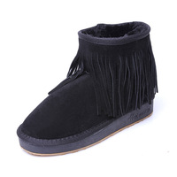 Tassel snow boots ankle boots 5854 - 9 autumn and winter snow boots low metal scalar