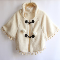 2013 autumn and winter women plush outerwear female thickening sweater cute female loose cloak cape batwing sleeve