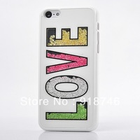 Free Shipping 12 Designs Inbuilt Moveable Swarovski Diamond Rhinestone Rainbow PC Case Cover For Iphone 5C