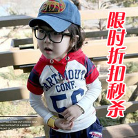2012 summer male girls clothing child T-shirt 100% short-sleeve summer cotton short-sleeve with a hood pullover