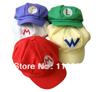 Free Shipping+Wholesale Fashion Super Mario Cap Brothers Hat Mario Hat Men's Flexible Fits Cap Cosplay Party Hat,100pcs/lot