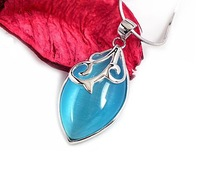 100% Guaranteed Solid 925 Sterling Silver Pendant Blue Opal Fashion Sterling Jewelry YH3025