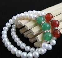 Free Shipping 2pieces/pack Elastic Bracelet with 7-8mm Real Good Freshwater Pearl  Christmas For Sisters