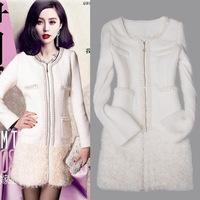2013 pearl rhinestone plush small slim woolen outerwear female