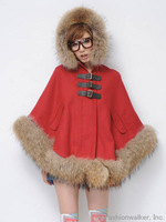 2013 luxury winter sweet raccoon fur woolen overcoat outerwear cloak