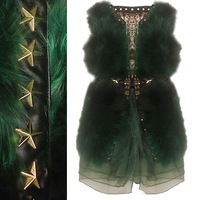 2013 high quality fox fur organza princess dress rivet long design fur vest