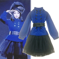 2013 double breasted woolen cummerbund tulle dress skirt female