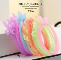 High Quality!RAINBOW Rabbit Fluorescence Bracelet  DIY BRACELET Fluorescent Color Elastic Hair Circle Elastic Rope Rubber Band