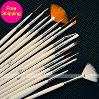 Free shipping Nail brush Professional Painting Pen Nail Art Tool Brushes Sets 15pcs/bag