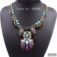 Minimum order $15 2013 autumn vintage bronze resin chain link necklace nice jewelry for women free shipping
