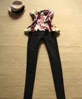 2013 Spring and Autumn  Pants Patchwork Black Ruffle  Tube Top Jumpsuit