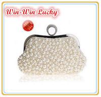New 2014 Fashion Women Pearl Handbag Solid Handmade Beaded Diamond Ring Clutch Party Bag Lady Chain Shoulder Messenger Bag