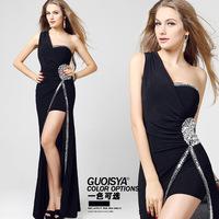 Hombro corto largos Coches vestido negro vestido de pasarela anual temperamento noche la senorita