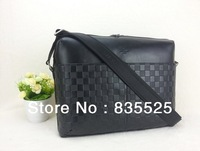 2013 new embossing leather fabrics plain leather trimming men messenger bag that can hold 15 inch computer real leather handbags