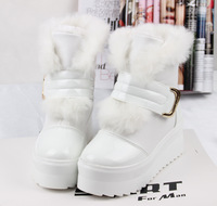 2013 women's autumn and winter boots velcro flat heel platform boots leather waterproof rabbit fur snow boots