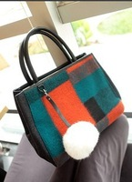 2013 women's fashion handbag woolen bag rabbit fur ball color block bag autumn and winter handbag messenger bag Q443
