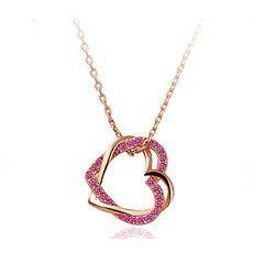 Fashion jewelry Wholesale 18K Gold Plated pink Heart Crystal necklace pendant Rhinestone jewelry k151-3(China (Mainland))