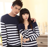 Lovers long-sleeve T-shirt 2013 basic knitted summer shirt female navy style lovers autumn shirt