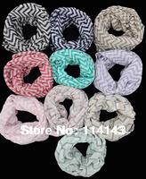 10pcs/lot Fashion Chevron Wave Print Scarf Circle Loop Infinity Scarves , Free Shipping