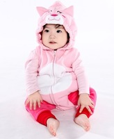 2013 new arrival baby winter baby rompers  pink kitten style vest romper thickening trousers twinset