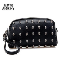 New Skull Fashion Black Rivet Bag Women Mini Messenger Bag Clutch Women's Handbags Black Color