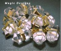 22x15mm Crystal Quartz Petite Nugget Pendant with Gold layered Edge