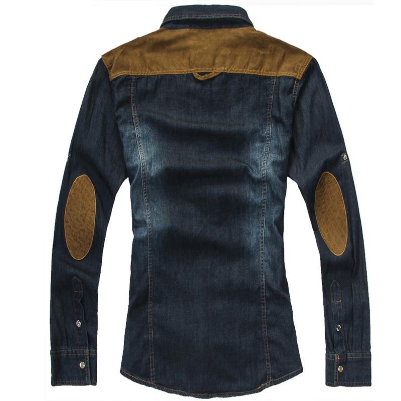 Free shipping leisure men's wear man jeans shirt man Cowboy shirt(China (Mainland))