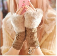 Autumn and winter faux lucy refers to the keyboard long design thermal gloves thickening Women gloves